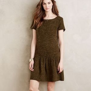 Anthropologie Maeve Dropwaist Boucle Dress Moss